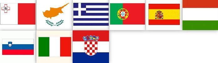 Ελλάδα , Κύπρος , Μάλτα , Ιταλία , Πορτογαλία , Σλοβενία , Ισπανία ,Κροατία , Ουγγαρία
